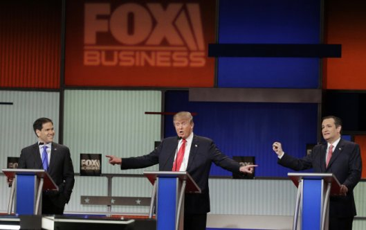 Sen. Ted Cruz, R-Texas, Sen. Marco Rubio, R-Fla., and businessman Donald Trump stand during the Fox Business Network Republican presidential debate at the North Charleston Coliseum, on Thursday, Jan. 14, 2016, in North Charleston, S.C.